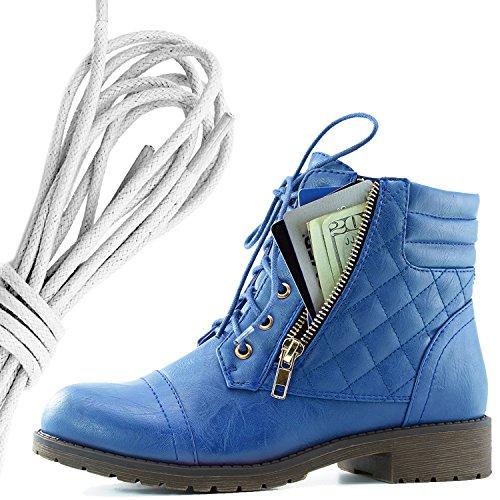Dailyshoes Kvinners Militære Snøring Spenne Combat Boots Ankelen Høyt Eksklusivt Kredittkort Lomme, Elfenben Blå Pu