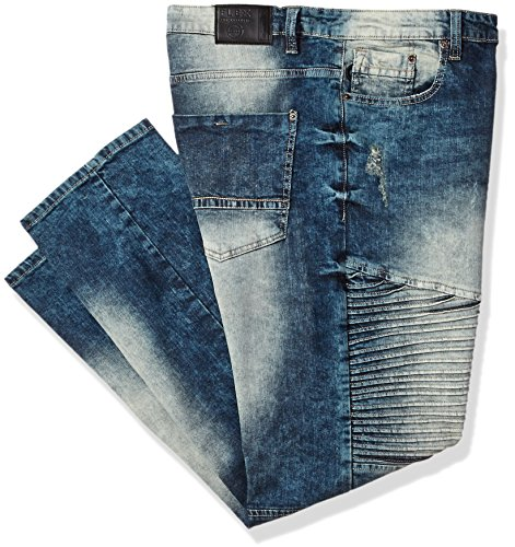 Southpole Men's Big and Tall BT Basic Flex Slim Straight Stretch Fit Washed Denim Pants, Dark Vintage/Mojito, - Dark Pants Street