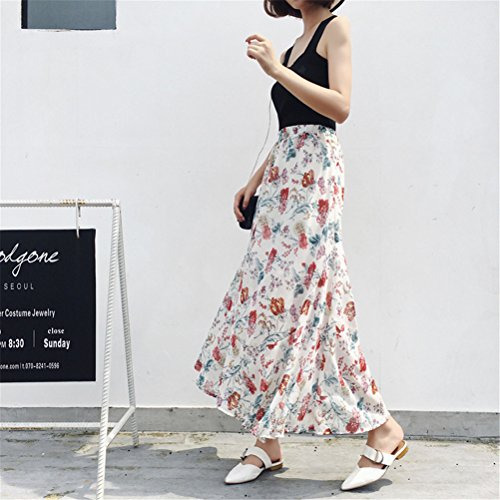 Stampato Plissettato Floreale Oudan Beach Gonna Vintage Bohemian Chiffon Holiday Long Bianca Skirt Mermaid Donna naYa4SFq