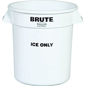 Rubbermaid Commercial Brute Ice-Only Trash Can Container, 10-Gallon, White
