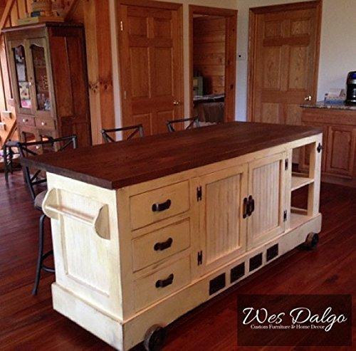 Modern Industrial Kitchen Island Cart (Distressed Antique White)
