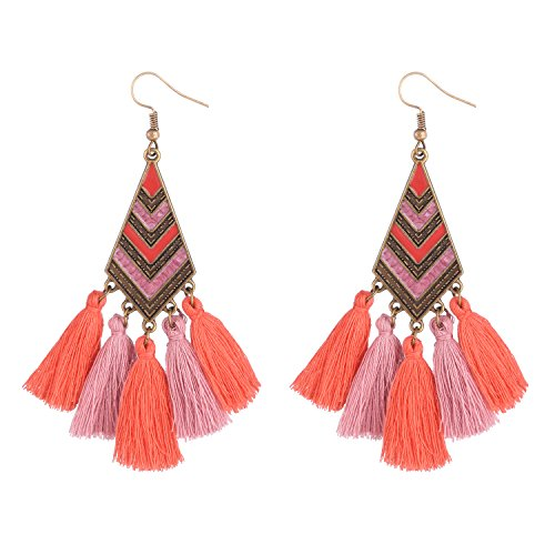 D EXCEED Bohemian Thread Tassel Earrings Chandelier Tired Tassel Drop Earrings Ethnic Dangle Earrings for Women Coral & Pink - Pink Coral Earrings