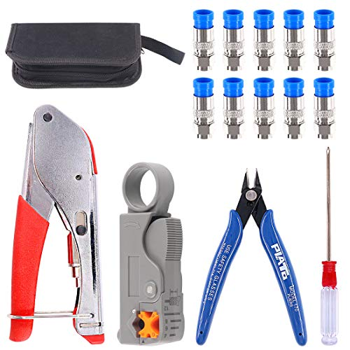 (Glarks Coax Cable Crimper Tool Kit, RG6 RG59 Coaxial Compression Crimping Tool Double Blades Cable Stripper and Wire Cable Cutter with 10pcs F Compression Connector for Cable TV Video Audio)