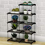 JYYG Plant Stand Custom Shaped Succulents Pot Shelf Bakers Rack for Flowers Metal Shelving Unit Green House Storage Organizer, DIY Multifunction Indoor Outdoor Black