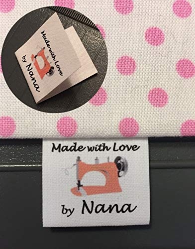 - 40 Custom Precut Folded Cotton Loop Fold Sewing Label/Tags with Color Ink Orange Sewing Machine Graphic-Made in USA