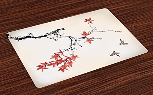 Places Coral Springs (Ambesonne Japanese Place Mats Set of 4, Cherry Blossom Sakura Tree Branches Romantic Spring Themed Watercolor Picture, Washable Fabric Placemats for Dining Room Kitchen Table Decor, Coral Black)