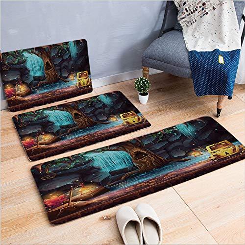 3 Piece Non-Slip Doormat 3d print for Door mat living room kitchen absorbent kitchen mat,Landscape with a Big Tree Treasure Chest Lamps,15.7