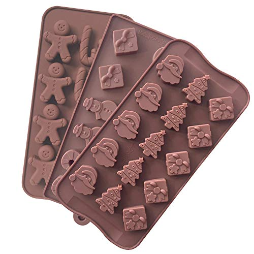 Yii Silicone Chocolate Candy Making Molds, Cake Baking Mould, Ice Cube Tray, Gingerbread Man, Christmas Trees, Santa, Snowman, Candy Canes, Pack of 3
