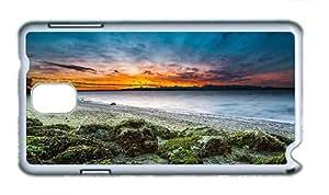 Cute Samsung N9000 poetic cases USA Washington Seattle beach shore stones sunset sea PC White for Samsung Note 3/Samsung N9000