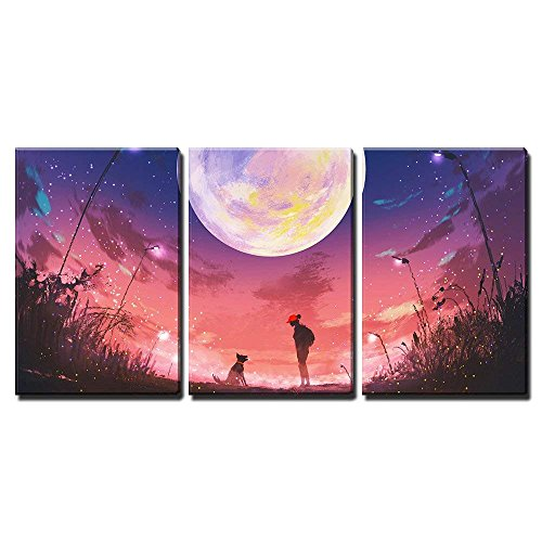 wall26 - 3 Piece Canvas Wall Art - Illustration - Young Woman with Dog at Beautiful Night with Huge Moon Above - Modern Home Decor Stretched and Framed Ready to ()