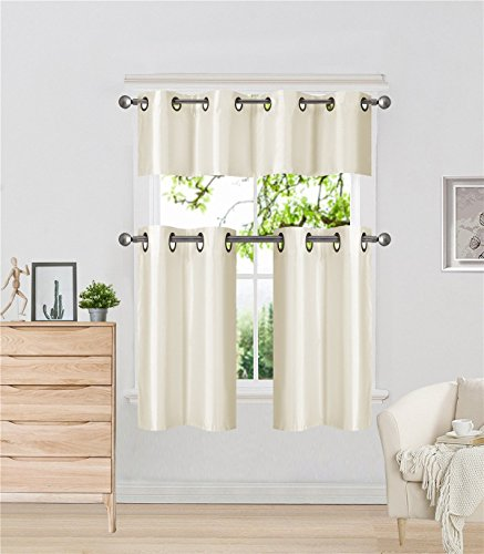 - Elegant Home Collection 3 Piece Solid Color Faux Silk Grommet Blackout Kitchen Window Curtain Set with Tiers and Valance Solid Color Lined Thermal Blackout Drape Window Treatment # k9 (Ivory)