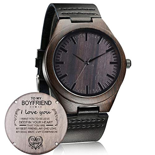 Customized Engraved Wooden Watch, Casual Handmade Wood Watch for Men Women Family Friends Customized Gift (for My Boyfriend)