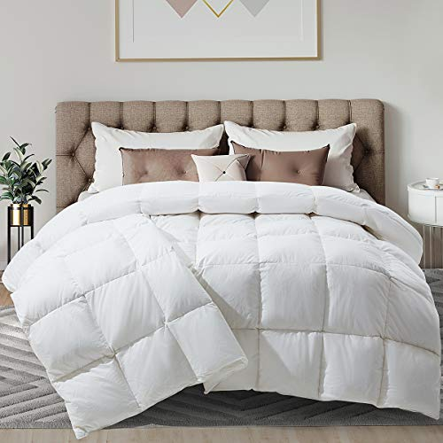White Feather Down Comforter Goose Down Comforter 100% Cotton Quilted Down Comforter with Corner Tabs All-Season Machine Washable-King ( 90 X 104 Inch)