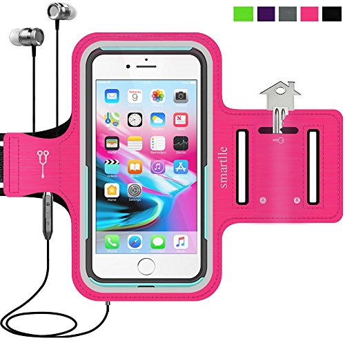 Sport Armband Water Resistant Running Case iPhone 8 Plus 7 Plus 6s Plus 6 Plus, Samsung Galaxy, LG, Moto, with case (Lifeproof/Others), Fitness Gym Workout Case Key/Card Holder, Cable Locker [Pink]