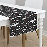 Table Runner - Shark Card Playing Card Animal Poker Games by Robyriker - Cotton Sateen Table Runner 16 x 72