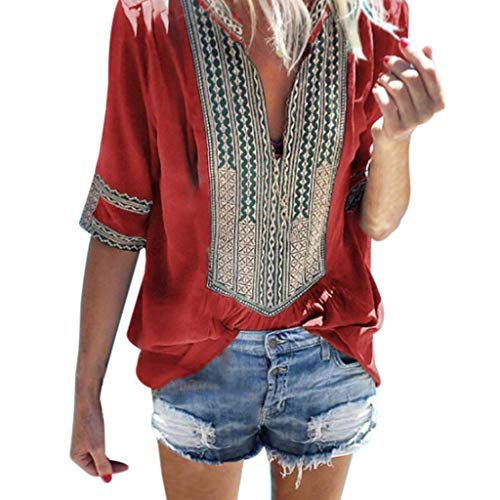 Sunhusing Women's Deep V-Neck Bohemian Print Half Sleeve Tops Casual Beach Wind T-Shirt Red ()