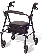 Carex Steel Rollator Walker with Seat and Wheels, Includes Back Support, Rolling Walker For Seniors and Those Needing Assistance Walking, Locking Handbrakes, Supports 350lbs, Foldable