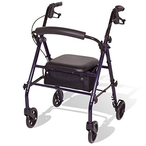 4 Wheel Rolling Walker - Carex Steel Rollator Walker with Seat and Wheels, Includes Back Support, Rolling Walker for Seniors and Those Needing Assistance Walking, Locking Handbrakes, Supports 350lbs, Foldable