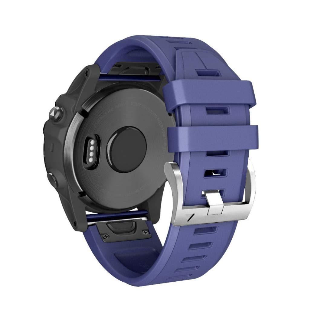 Malloom 26MM Correa de Silicona Simple de liberaci/ón r/ápida Hebilla de Color Plata Azul para Garmin Fenix 5X Plus