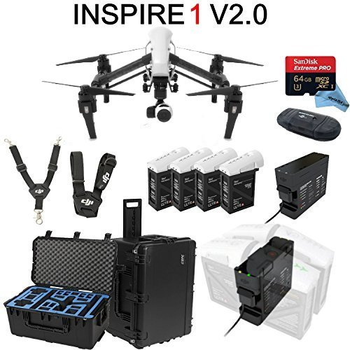 DJI Inspire 1 V2.0 Bundle with 4 Batteries + Charging Hub (Charge all batteries at the same time) + Go Professional Case + 64GB Extreme Pro MicroSD Card and more…