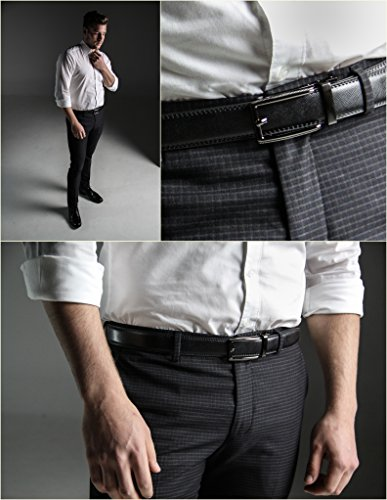 """Marino Men's Genuine Leather Ratchet Dress Belt with Open Linxx Buckle, Enclosed in an Elegant Gift Box - Gunblack Silver Square Open Buckle W/Black Leather - Custom XL: Up to 54"""" Waist"""