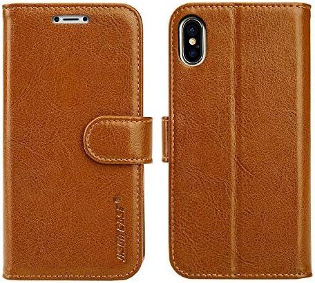 Jisoncase iphone XR ケース 手帳型 サイドマグネット アイフォン XR ケース 本革 レザー スタンド機能付