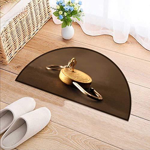 Simple Modern Semi-Circular Non-Slip Carpet Open The Key to The Lock Bedroom Bathroom Rug W31 x H20 INCH