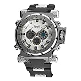 Men's Military Style Big Steel Case Multi-Functional Analog-Digital Wrist Watch(white) WTH2741