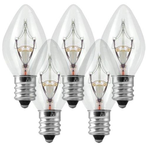 (C7 - Clear - 5 Watt - Candelabra Base - Christmas Lights - 25 Pack)