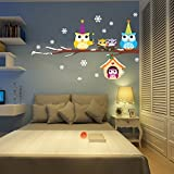 ElecMotive Merry Christmas Owls Snowflake Christmas Tree Gifts Wall Decals, Living Room Bedroom Shop Window Removable Wall Stickers Murals Removable DIY Home Decorations Art Decor (Owls)