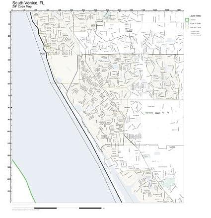 Zip Codes South Florida Map.Amazon Com Zip Code Wall Map Of South Venice Fl Zip Code Map Not