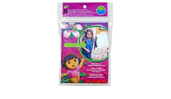 Amazon.com : Dora la del asiento de tocador Explorador Potty Topper desechables Palillo-in-Place Covers, 10-Conde : Baby