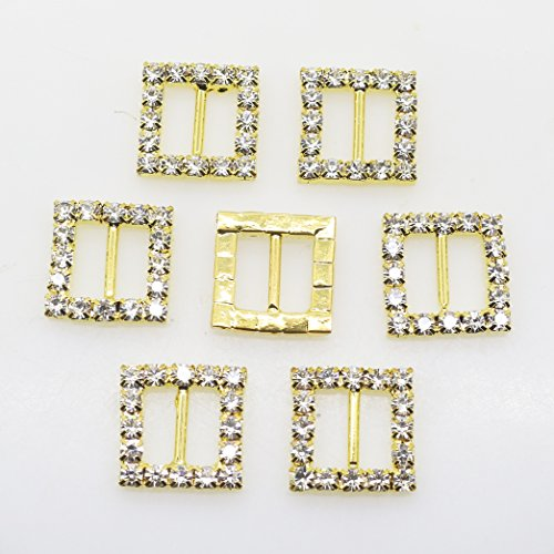 50pcs 15mm Gold Square Shape Rhinestone Ribbon Buckles Diamond Buttons for the Bridesmaids Bouquets Doll shoes and dresses (Buckle Bouquet)