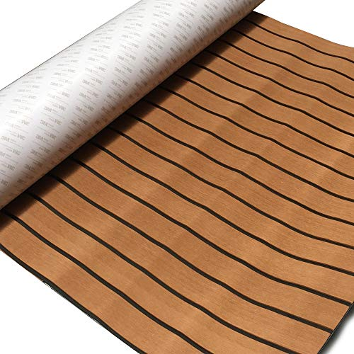 "Cozyel EVA Faux Teak Decking Sheet for Boat Yacht Non-Slip and Self-Adhesive Boat Flooring Pad 94.5""× 35.4"" Wood Brown"
