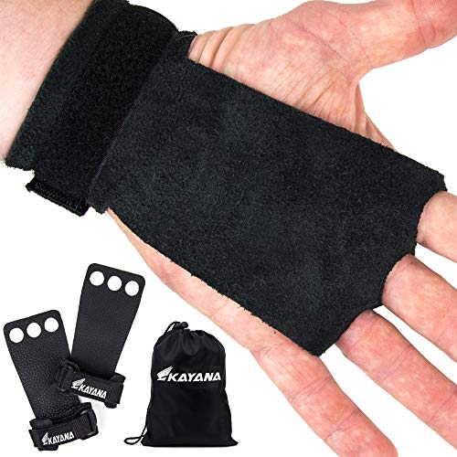 KAYANA 3 Hole Leather Gymnastics Hand Grips - Palm Protection and Wrist Support for Cross Training, Kettlebells, Pull ups, Weightlifting, Chin ups, Workout, Exercise (Black, Medium)