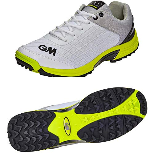 Gunn & Moore GM Cricket Shoes : All Rounder with Rubber Studs (Color - White) 2018 - Strobel Latex