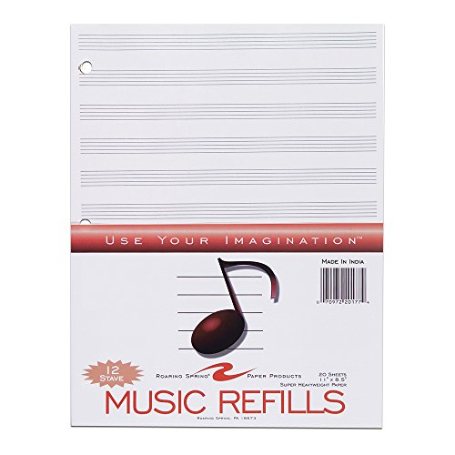 Roaring Spring Paper Products Music Filler Paper, 11 x 8.5 Inches, 20 Sheets (20177) (Music Staff Notes)