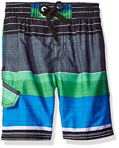 Kanu Surf Big Boys Viper Stripe Swim Trunk, Black/Blue/Green, Medium (10/12)