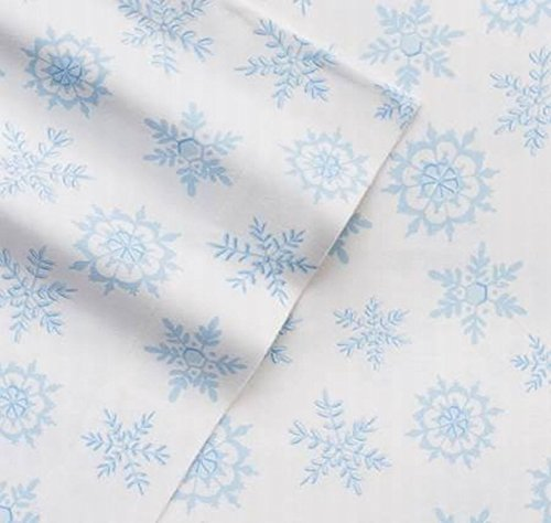 Cuddle Duds Flannel Sheet Set Blue & White Snowflake Queen B