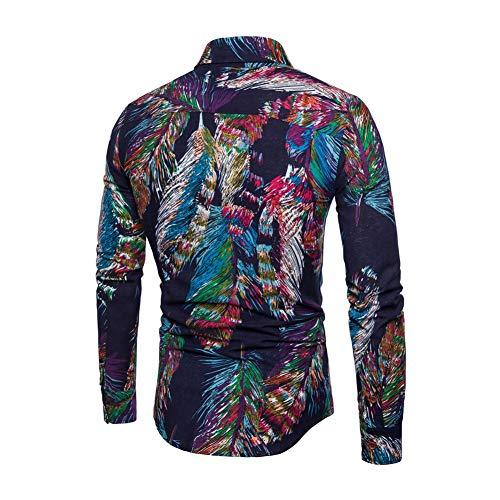 lisenraIn Men's Button Down Shirts Long Sleeve Slim Fit Cotton Floral Print Casual Shirt