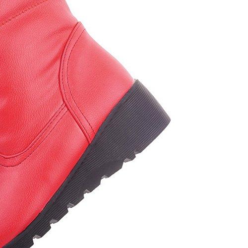 AllhqFashion Mujeres Pu Caña Alta Sólido Sin cordones Tacón Medio Botas Rojo