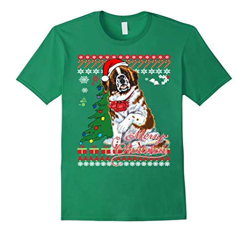 Men's Ugly Christmas Sweater Saint Bernard Dog T-Shirt XL Kelly Green
