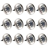 GIGALUMI 12 Pack Solar Ground Lights, 8 LED Solar Powered Disk Lights Outdoor Waterproof Garden Landscape Lighting for Yard Deck Lawn Patio Pathway Walkway (White)