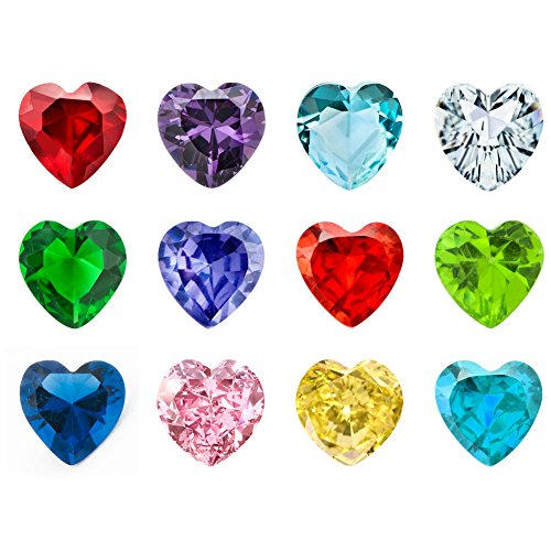- JewelryHouse 12pcs Heart Birthstones Floating Charms For Glass Living Memory Lockets Necklace