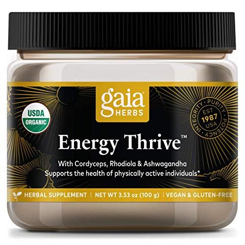 Gaia Herbs Energy Thrive Mushroom and Herb Powder, Energy Support, Cordyceps, Rhodiola, Ashwagandha, Shiitake Mushroom, Daily Herbal Supplement, 3.53 Ounce