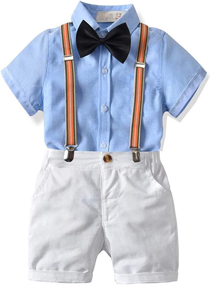 Wedding Outfits Party Ceremony Costume MORCHAN Baby Boys Gentleman Suits Infant Toddler Kids Romper+Strap Shorts Print Overalls Clothes Set