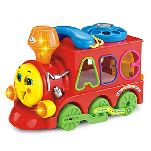 Geefia Battery Operated Bumping Change Drection Smart Train Toy, with Blocks, Light and Music Education Toy (Music Education Toys)