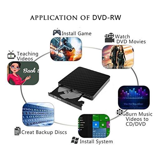 External CD/DVD Drive for Laptop & Macbook USB 3.0 Plug Quick Data Transfer, Fast Writing & Reading Speed 8 X DVD –R, Ultra Thin - Tecnugiz by TOBSKBY (Image #4)