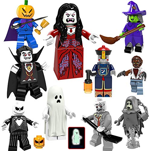 Halloween Building Block Brick Toy Set Pumpkin Head Ghost Moster Fighter Headless Horseman Crazy Witch Vampire Zombie Werewolf Mini Toy Figure (Large Halloween Pumpkin)