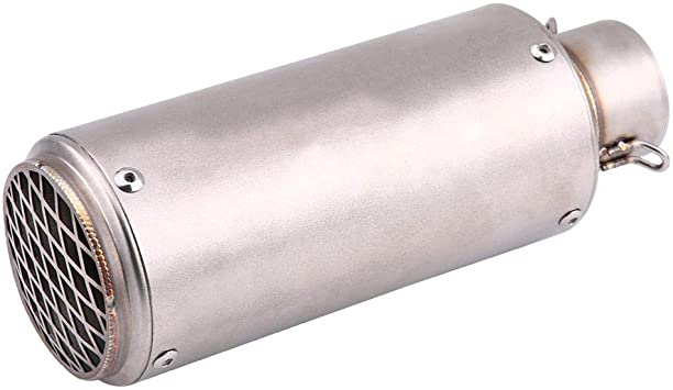 Qiilu 1 Pcs Universal Rear Round Chrome Stainless Steel Auto Exhaust Muffler Tail Pipe Tailpipe